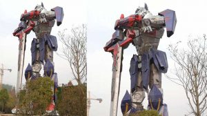 Metal Sculpture Stainless Steel Transformer Sculpture Transformer Statue Metal Robot Sculpture