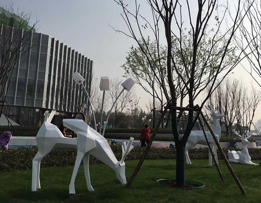 Stainless Steel Animal Sculpture Metal Deer Sculpture