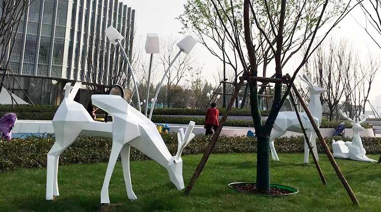 Stainless Steel Animal Sculpture Metal Deer Sculpture