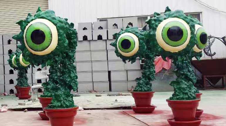 Resin Fiber Cartoon Character Statue The Eyes of Plants Cartoon Sculpture