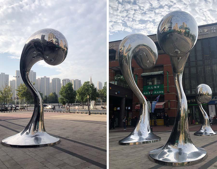 bonnie sculpture-Metal Sculpture Stainless Steel Water Drop Sculpture