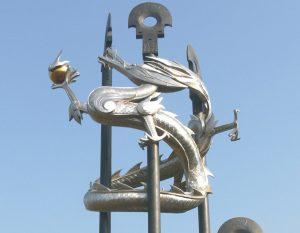 bonnie sculpture-Metal Sculpture Stainless Steel&Bronze Dragon Sculpture02