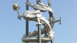 bonnie sculpture-Metal Sculpture Stainless Steel&Bronze Dragon Sculpture770x430