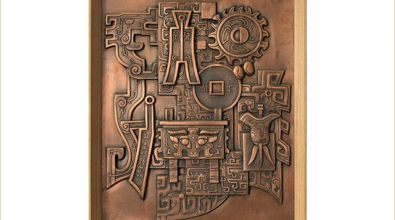 bonnie sculpture-Metal Wall Décor Copper Plate Classic Chinese Relief 900x700