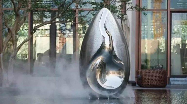 bonnie sculpture-Modern Stainless Steel Flower Bud Sculpture Water Feature Sculpture