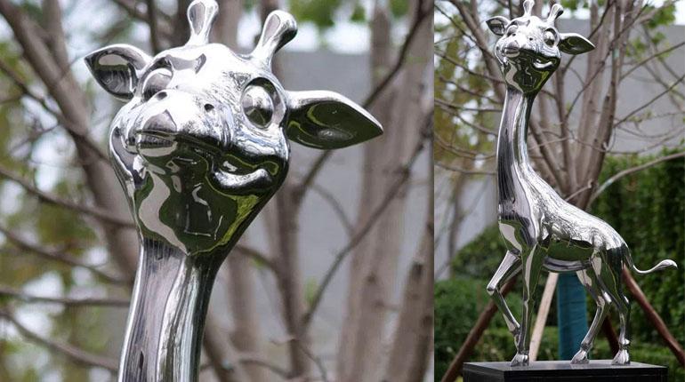 bonnie sculpture-Stainless Steel Animal Sculpture Metal Giraffe Sculpture 770x430
