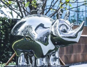 bonnie sculpture-Stainless Steel Animal Sculpture Metal Rhino and Bird Sculpture