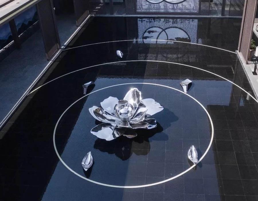 bonnie sculpture-Stainless Steel Blossoming Flower Sculpture Water Feature Sculpture