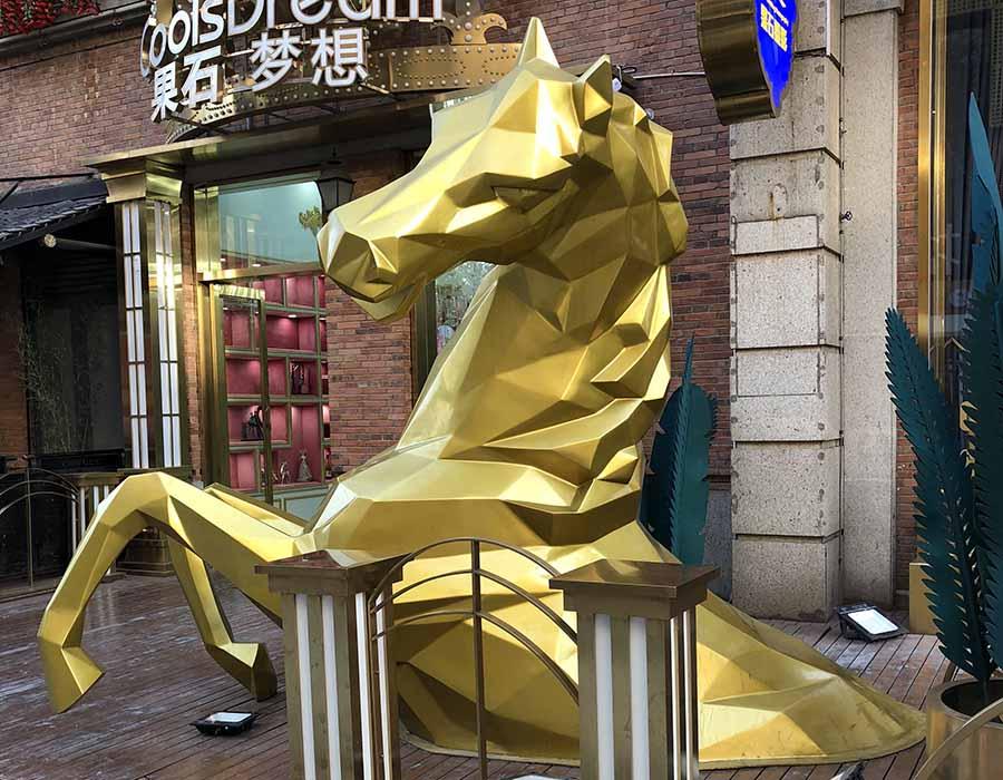 bonnie sculpture-Stainless Steel&Resin Fiber Animal Sculpture Half Horse Sculpture