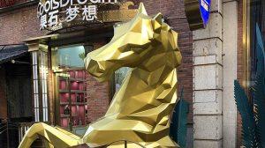 bonnie sculpture-Stainless Steel&Resin Fiber Animal Sculpture Half Horse Sculpture770x430
