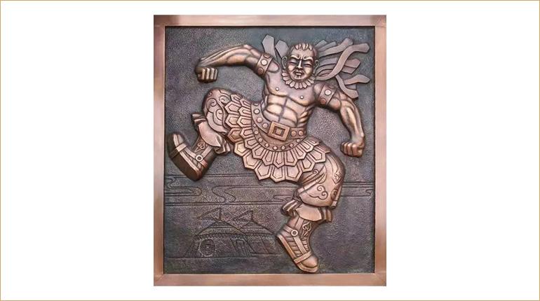 bonnie sculpture-Wall Décor Sculpture Copper Plate Wrestler Relief 770x430
