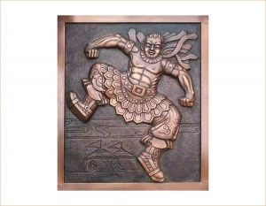 bonnie sculpture-Wall Décor Sculpture Copper Plate Wrestler Relief 900x700
