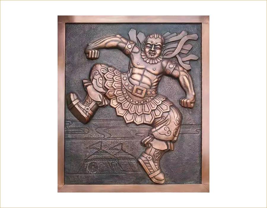 bonnie sculpture-Wall Décor Sculpture Copper Plate Wrestler Relief 900x700