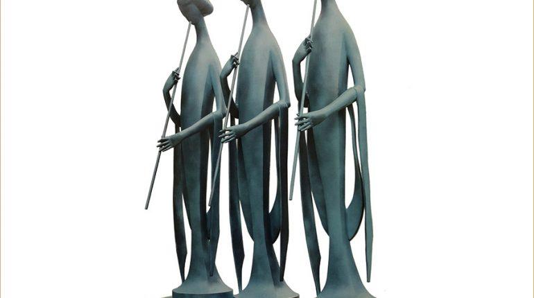 bonnie sculpture-Wrought Copper Ancient Female Sculpture 900x700