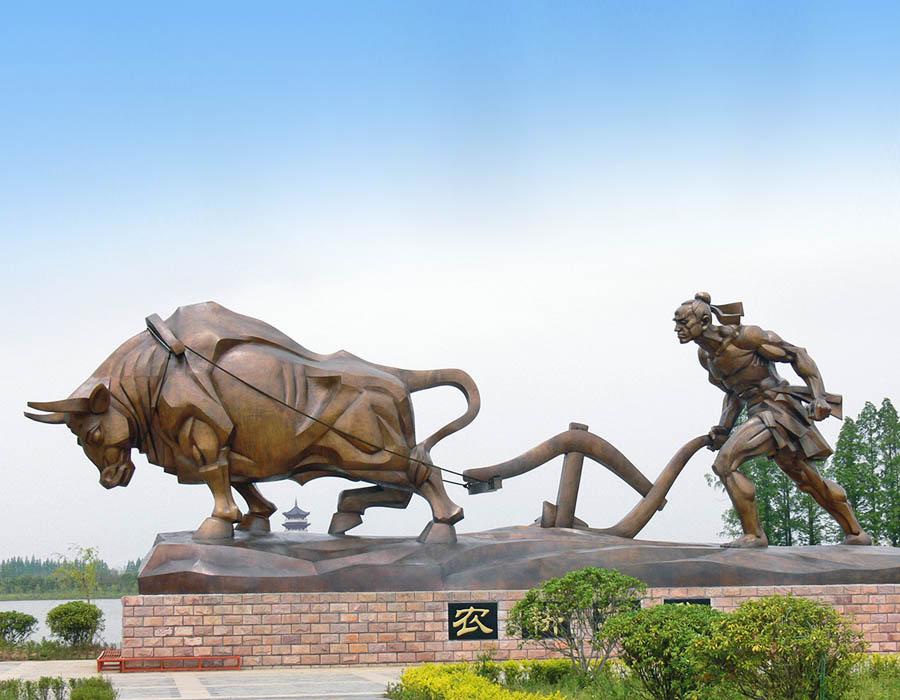 bonnie sculpture-Wrought Copper Sculpture Farming Sculpture 900x700