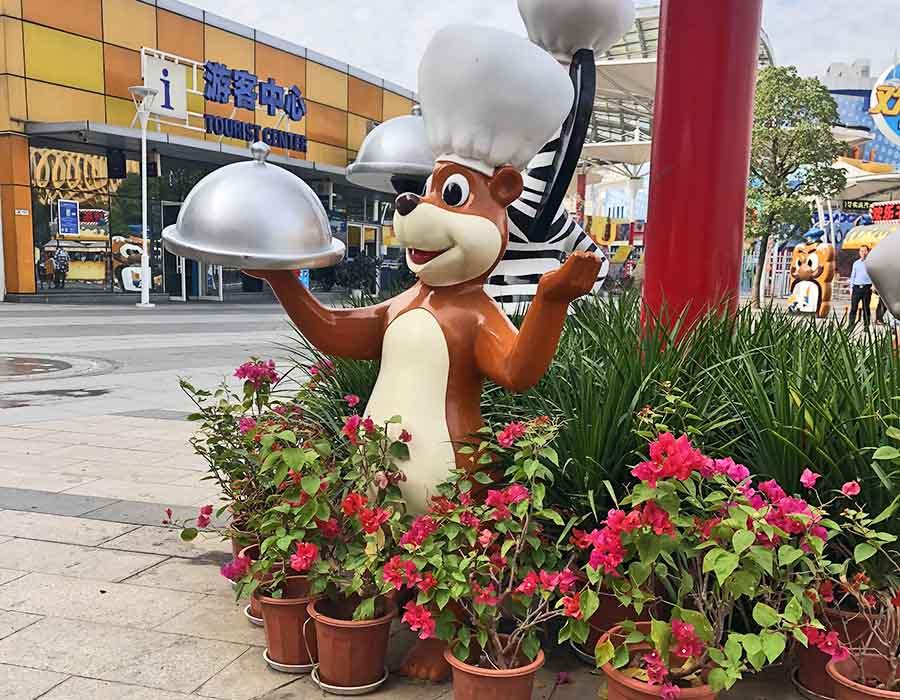 bonniesculpture-Resin Fiber Bear Cartoon Statue Cartoon Sculpture