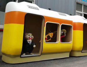 bonniesculpture-Resin Fiber Cartoon Train Sculpture