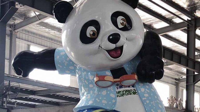 bonniesculpture-Resin Fiber & Stainless Steel Cartoon Panda Sculpture