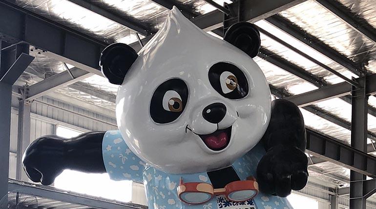 bonniesculpture-Resin Fiber & Stainless Steel Cartoon Panda Sculpture 770x430