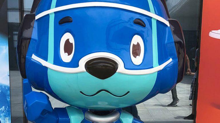 bonniesculpture-Resin Fiber & Stainless Steel Cartoon Robot Dog Sculpture