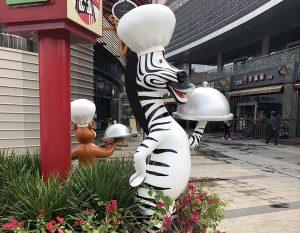bonniesculpture-Resin Fiber Zebra Cartoon Statue Cartoon Sculpture