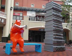 bonniesculpture-Stainless Steel Cartoon Bear Sculpture Cartoon Statue
