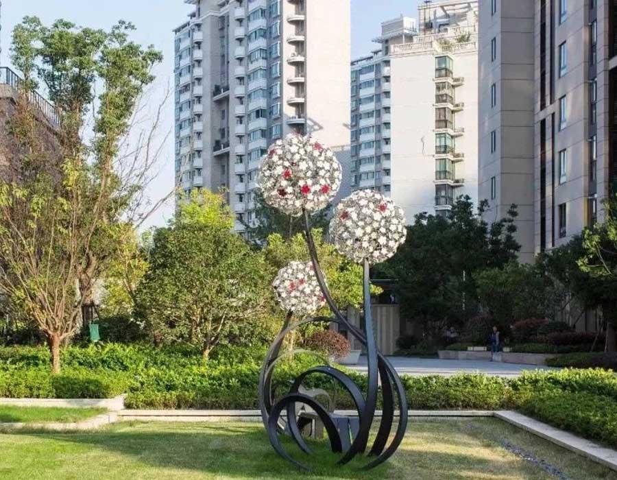bonniesculpture-Stainless Steel Dandelion Sculpture