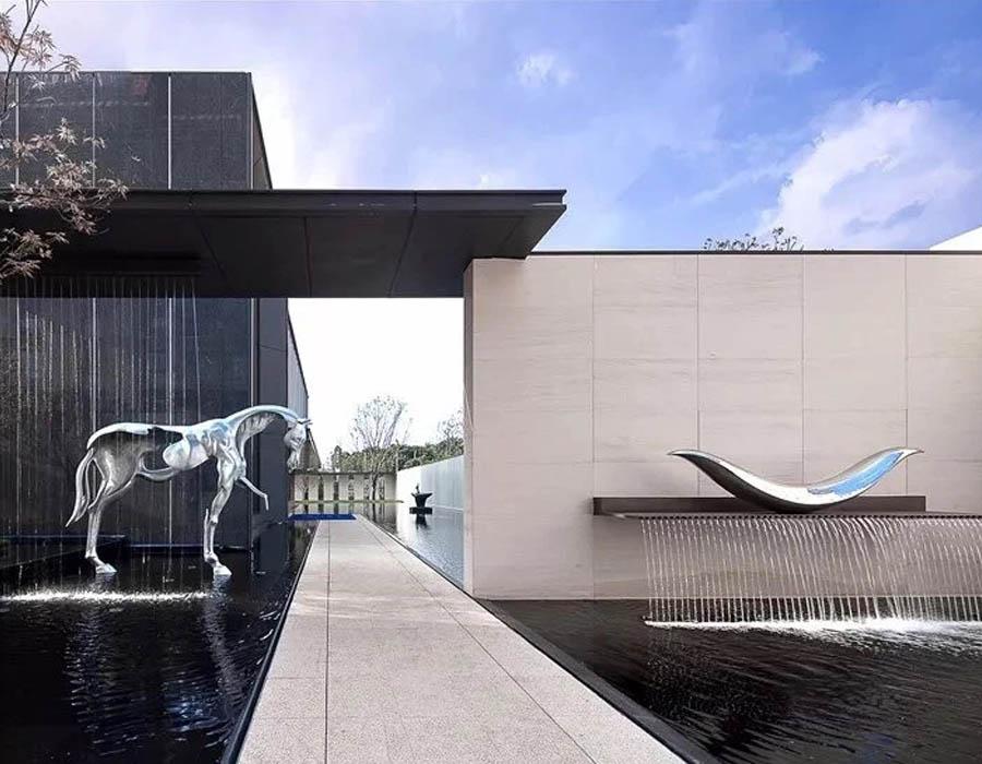bonniesculpture-Stainless Steel Horse Sculpture Metal Water Feature Sculpture